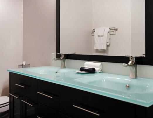 double sink vanity in hotel bathroom
