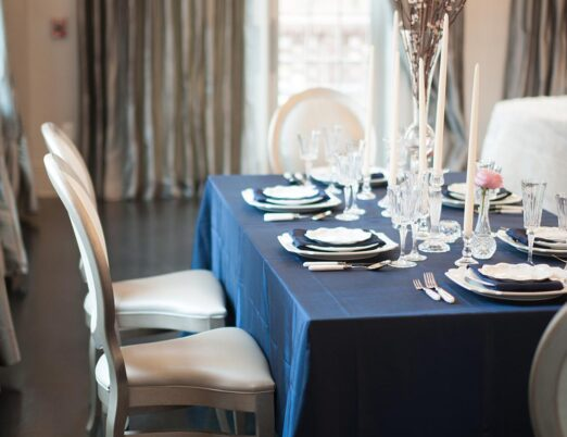 fancy event table with centre piece on rectangle table