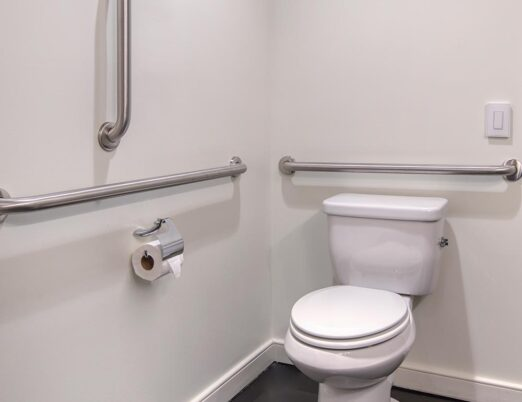 Bathroom toilet surrounded by hand-hold bars for accessibility